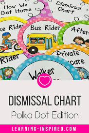 Dismissal Chart Dismissal Chart Polka Dot Brights Editable Learning