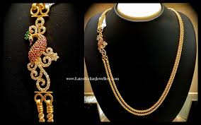 Gold Mangalya Chain Designs With Price Peacock Design Mugappu Gold Chain Gold Chain Design