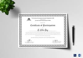 Samples Of Certificates Of Participation 25 Participation Certificate Templates Pdf Doc Psd F Free