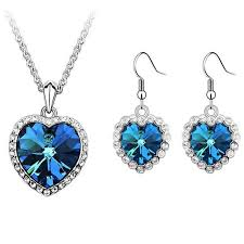 crystal from swarovski elements blue crystal heart necklaces pendants 18k gold plated drop earrings for women jewelry set 5533