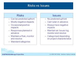 bsbpmga manage project risk manage project risk introduction to  4 bsbpmg508a manage project risk risks vs issues can be predicted upfront mostly negative impacts occasional positive impacts responses planned in