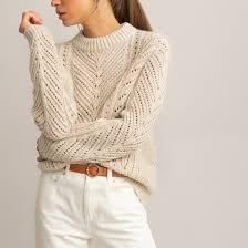 <b>Пуловер</b> с <b>круглым</b> вырезом, из плотного трикотажа бежевый <b>La</b> ...