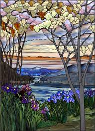 magnolias and irises decorative window