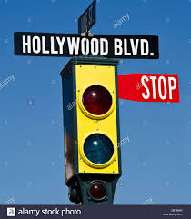 Blue Traffic Light In Florida Hollywood Blvd Traffic Light With Stop Sign Universal