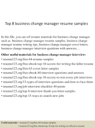 Top8businesschangemanagerresumesamples 150516093715 Lva1 App6891 Thumbnail 4 Jpg Cb 1431769082