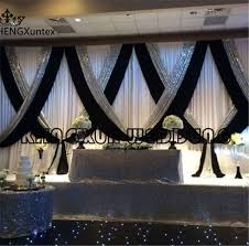 3m 6m whole white wedding backdrop curtain with black color and silver sequin fabric