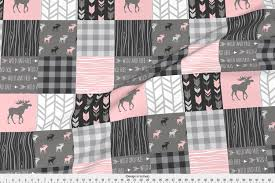 Sugar Pine Design Fabric Spoonflower Moose Fabric Pink Moose Wholecloth Patchwork Squares Pink And Grey Buffalo Check Woodgrain Wild And By Sugarpinedesign Printed On