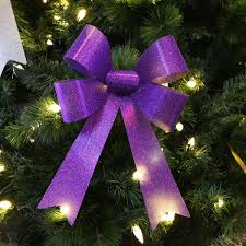 Online Shop 13cm Cloth 5 Ears Of Gold And Silver Red Purple Purple Christmas Tree Bows