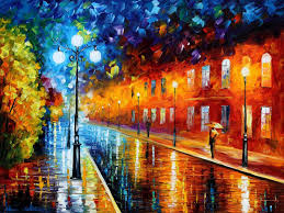 blue lights original oil painting on canvas size