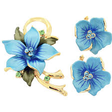 blue poinsettia swarovski crystal flower pin brooch and earrings gift set