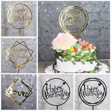 Love Happy Birthday Cake Topper Card Acrylic Cake Party Decoration