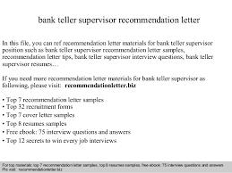 Collection Of Solutions Sample Cover Letter For Teller Supervisor