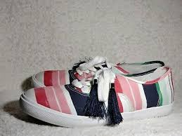Crown Ivy Womens Canvas Sneakers Sz 9 RILEY Striped Multicolored Lace up  Tassel | eBay