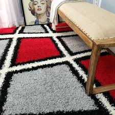 home geometric tile design red black white grey area rug and rugs
