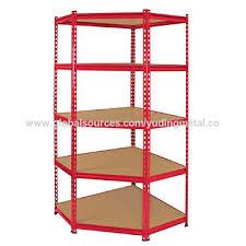 china good quality heavy duty mdf 5 tiers corner racking shelving unit