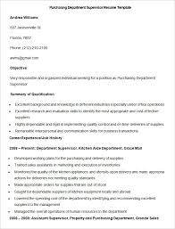 Sample Purchasing Department Supervisor Resume Template