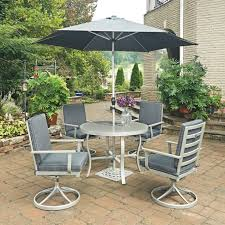 south beach 7 pc round outdoor dining table with 4 swivel rocking 5700 30 chair pads