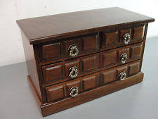 wood wooden jewelry storage box chest 7 tall 4 pull out drawers vine