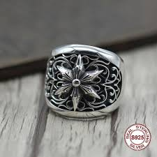 <b>S925 Pure Silver</b> Men'S Ring Individuality The Punk Style Do Old ...