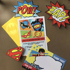 superheroes birthday party invitations superhero childrens party invitation from 0 80 each