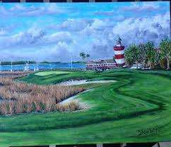 harbourtown golf acrylic painting