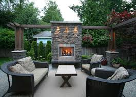 Outdoor Living Area With Fireplace contemporary-patio