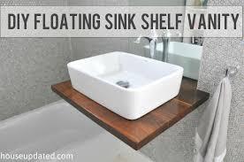 Image Cabinet Diy Walnut Floating Shelf Sink Vanity House Updated Diy Walnut Floating Shelf Sink Vanity House Updated