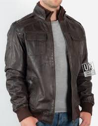 men s vintage leather er jacket in brown mirage