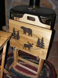 Decorative Tv Tray Tables Set Of Two Wood TV Tray Tables And Rack Moose And Bear Hand Made 93