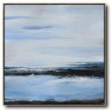 oversized abstract landscape painting original art acrylic painting white blue black