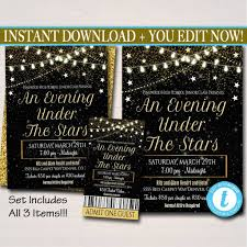 Prom Night Ticket Design Editable Prom Set Dance Flyer Invitation Ticket Starry