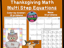 solving equations thanksgiving turkey math multi step equations maze color by number bundle