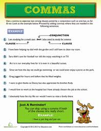 When To Use Comma Master The Comma Comma Worksheets For 3rd Graders Education Com
