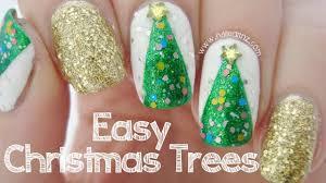 Easy Christmas Tree Nail Art - YouTube