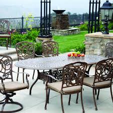 Darlee florence 7 piece cast aluminum patio dining set with oval table antique bronze bbq guys