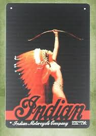 Indian motorcycle <b>aboriginal sexy</b> girl tin metal sign cute home <b>decor</b>