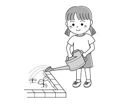 子供の夏水遣り 無料イラスト素材素材ラボ