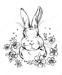 うさぎと花の白黒イラスト ストックベクター Alsoush 126384112