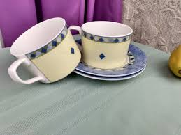A warm cup of peppermint tea can be a great coffee alternative for people who need something to get them going in the morning. Royal Dalton Carmina Cup With Saucer Set Of 2 Fine China Large Flat Coffee Replacement Coffee Tea Cups Affordable Gift Blue And Yellow China