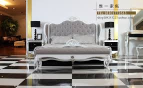 neo classical post modern wood bed double bed princess bedroom