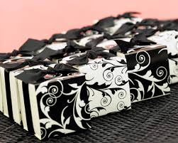 my wedding favors etc black and white wedding theme black & white Wedding Favor Ideas Black And White decorative black and white flourish design favor boses from my wedding favors etc \