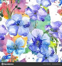 Blauwe Vlas Bloemen Floral Botanische Bloem Naadloze