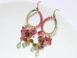 the arabella earrings watermelon tourmaline chandelier earrings in gold filled
