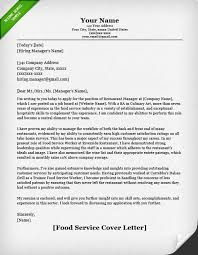 Examples Of Cover Letter For Resumes Beauteous Food Service Cover Letter Samples Resume Genius