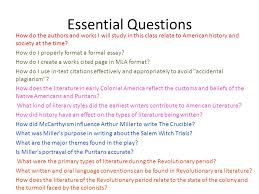 in the beginning i background and procedure ii colonial  3 essential questions how do the
