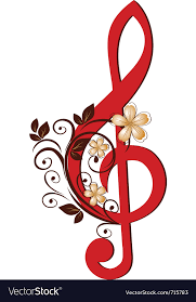 Treble Clef With A Flower Pattern Royalty Free Vector Image