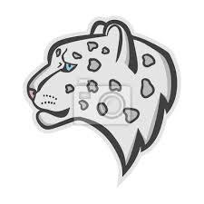 Fototapeta Snow Leopard Logo Maskot Sněžný Levhart Hlava Izolovaný Vektorové