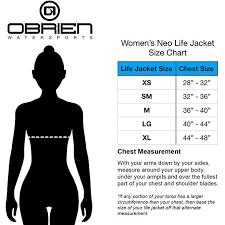 Womens Life Vest Size Chart Obrien Womens Impulse Neo Life Vest
