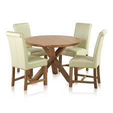 trinity natural solid oak dining set 3ft 7 round table with 4 braced scroll