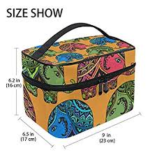 giovanior tribal indian elephants print large cosmetic bag travel makeup organizer case holder for women s